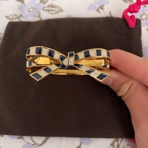 Kate Spade Large Bow Bangle w/ Blue+ White Stripes